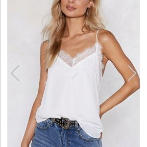 Nasty gal white tank with lace